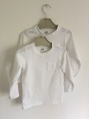 H&M Baby Boy 2 White Long Sleeve Tops Age 12-18 Months
