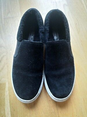 Black Allsaints Shearling Slip On Trainers Sneakers Shoes Size 40 Uk 7.5 Unisex
