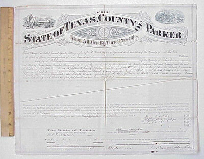 ORIGINAL 1881 Parker County Texas Land Grant/Purchase Document/Certificate