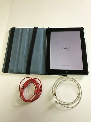 Apple iPad 2 64GB Wi-Fi 9.7in White With Leather Case and 2 Charging Cables USED