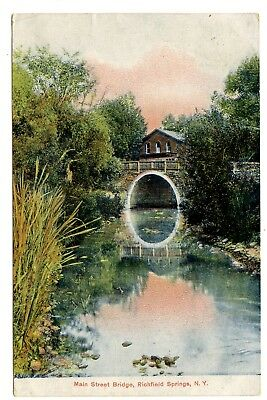 Early Color Litho postcard of Stone Bridge in Richfield Springs, NY
