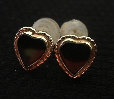 +Vintage Black Heart On Gold Tone Earrings (J)
