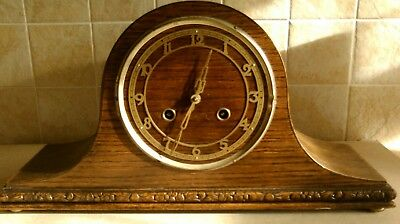 Antique Napoleon Mantle Clock , Oak case ? chime , Exposed dial and hands