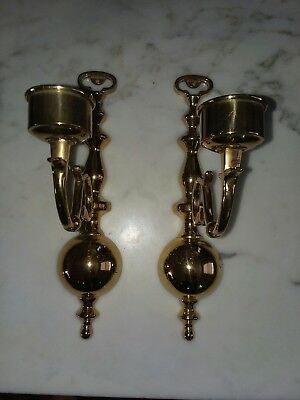 "Pair of Antique 12"" Brass Wall Sconce Candle holder Colonial Williamsburg Style"