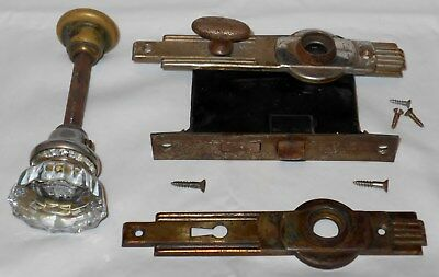 Antique Door Mortise Lock 1 Glass Door Knob 2 Art Deco Back Plates DB Kbob L@@K!