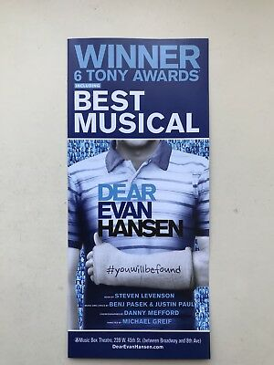 DEAR EVAN HANSEN flyer / handbill Broadway New York x 2