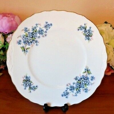 Royal Vale China Cake Plate Forget Me Not Floral Tabbed