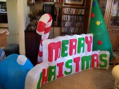 8' Merry Christmas Sign With Candy Cane And Xmas Tree  Christmas Inflatable
