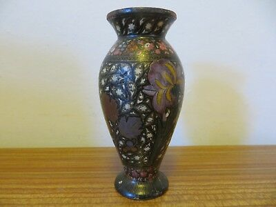 Antique Kashmiri hand painted Indian Indo Persian lacquered wooden vase 19th c
