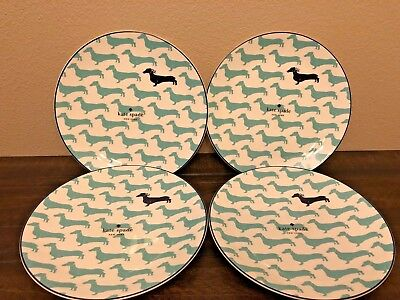 Kate Spade Lenox Set 4 Wickford Dachshund Turquoise 9 In Accent Salad Plates