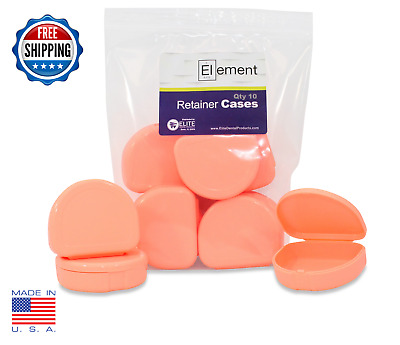 Element RETAINER CASES 10 Pack PEACH Invisalign Orthodontic Nightguard Dental
