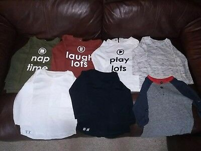 Baby Boys Long Sleeved T-shirts x 7 - NEXT - Aged 9-12 Months