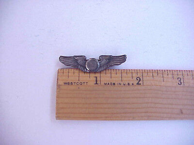"NAMED & Dated STERLING WWII Observer Wings 1 5/8"" Pinback"