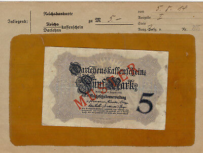Musterbrief mit 5 Mark 5.8.1914 Muster! sehr Selten!!!!