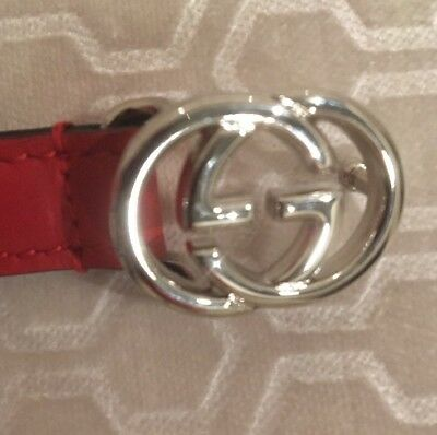 729613bf884 NEW GUCCI SIGNATURE G Buckle 370543 Hibiscus Red Leather 80 32 Woman ...