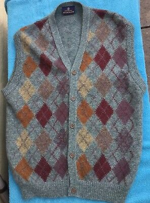 Men's Vintage Lambswool Argyle Knitted Waistcoat Size Large 44in Chest