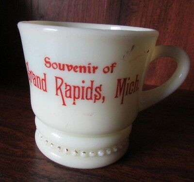 Vintage Custard Glass Cup Mug Souvenir GRAND RAPIDS MICHIGAN
