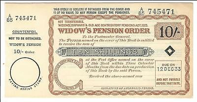 British Postal Order Widow's Pension Order 10 shilling 1933