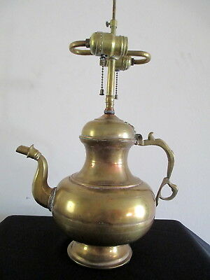 Antique Persian Middle Eastern Heavy Brass Riveted Teapot Kettle Lamp Light WOW