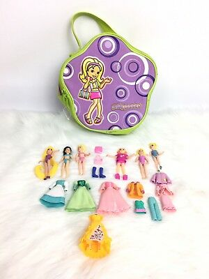 Polly Pocket Lot Dolls Clothes Accessories Carrying Case Disney