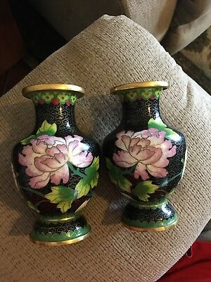 """Pair Of Chinese Cloisonne vases 5"""" Tall Floral Very Nice"""