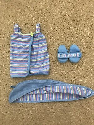 American Girl Bath Wrap Set Inc Wrap, Hair Towel, Slippers Retired EUC