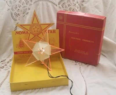 Vintage 1940s NOMA Illuminated Metal Christmas Star Tree Topper w/ Original Box