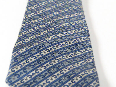 Christian Dior Cravates Silk Tie Mid-Blue and Gray Diagonal Pattern NWOT  VTG 90  cfdf2970fd7