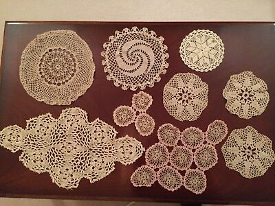 Mixed Lot of 9 Vintage Ecru Hand Crocheted Table Centre  Doilies Great Condition