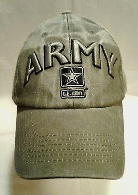 339723e8473 U.S. ARMY Baseball CAP Hat - US Military Green White Washed EAGLE CREST 6473