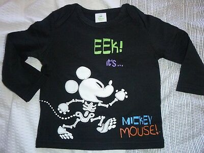 mickey mouse skeleton halloween top age 6-9 months