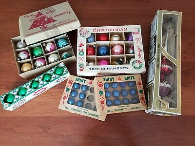 Lot Vintage Christmas Ornaments Orig Boxes Great Graphics Shiny Brite and More