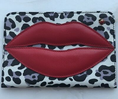 Charlotte Olympia Lips/Leopard Print Decorated Leather Passport Holder Cover
