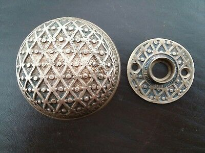 Antique Victorian Eastlake Brass Door Knob & Rosette Kenton Royal D 12300 1892