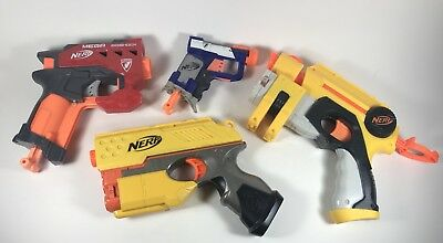Nerf Gun Lot of 4 Single Shot Small Hand Held Nerf N-Strike Blasters Party Pack