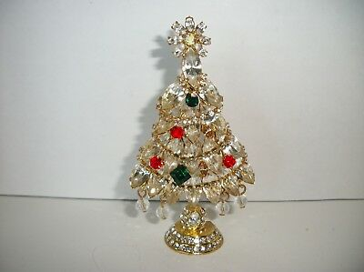 "Rhinestone Christmas Tree Pin Brooch ~also stands up for display 3 1/2"" tall"