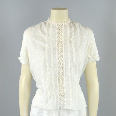 Vintage 50s Semi Sheer White Cotton Floral Lace Short Sleeve Button Back Blouse