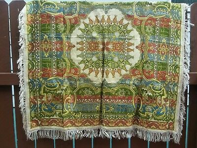 vintage Antique silk piano fringed shawl, Hand made Italy