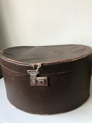 Vintage 1940's brown faux leather travelling hat box functional or stage prop