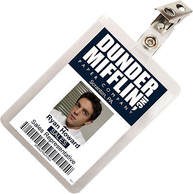 The Office Ryan Howard Dunder Mifflin ID Badge Cosplay Costume Name Tag TO-7