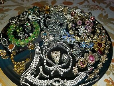 HUGE Vintage Rhinestone & Cluster Bead REPAIR/ CRAFT single earring lot 83 pcs!