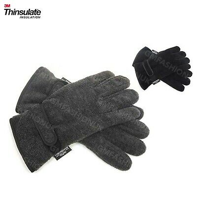 Mens 3M Thinsulate Polar Fleece Winter Gloves Thermal lining in Black Grey