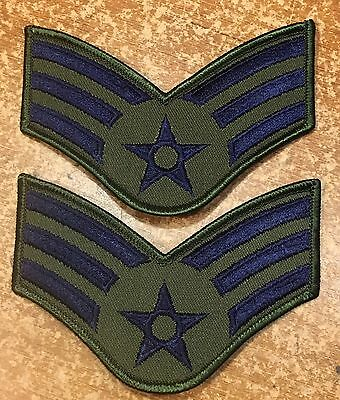 """Pair of USAF US Air Force Senior Airman Embroidered Patches 4"""" Wide VGC"""