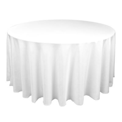 "NEW! 3 Linen Tablecloths 120"" Round Polyester Cloth Fabric White Wedding Banquet"