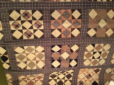 Early Primitive HOMESPUN HAND STITCHED QUILT 72x84