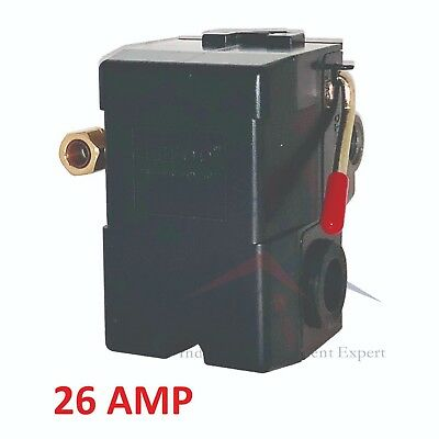 NEW HEAVY DUTY 26Amp Pressure Switch for Air Compressor 140-175 psi 4 Port