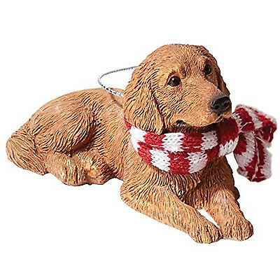 Sandicast XSO12917 Golden Retriever with Red & White Scarf Christmas Ornament