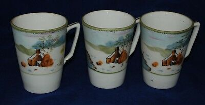 3 NIPPON TE-OH Hand Painted Tea Cups - House Trees Mountain Water