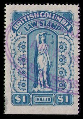 British Columbia Revenue 1948 $1. #bcl43 Blue Used Law Stamp See Scans (V812)