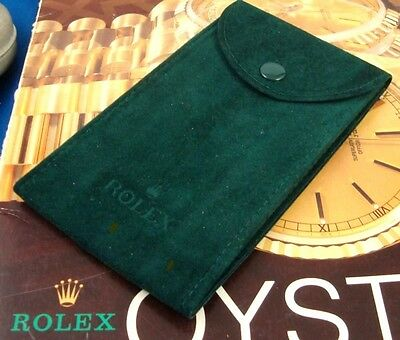 ROLEX Green Suede Pouch, marked: ROLEX.  5 inch by 3 inch Protects ROLEX Watch